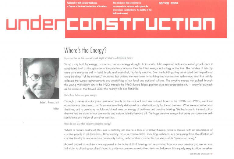 Under Construction: Where's the Energy?