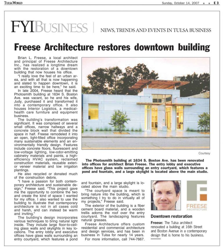 Tulsa World/FYI Business: Freese Architecture restores downtown building