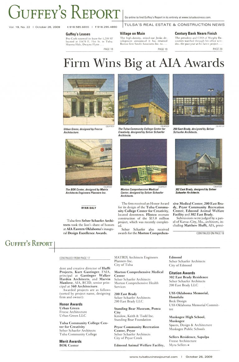 Tulsa Business/Guffey's Report: Firm Wins Big at AIA Awards