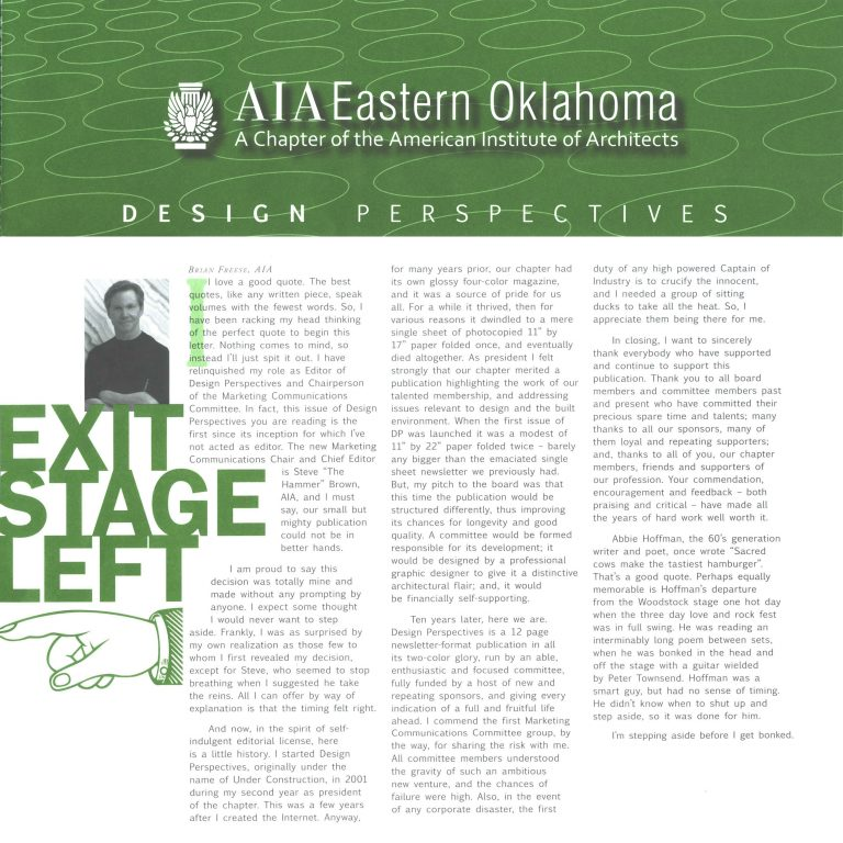 Design Perspective: Exit Stage Left